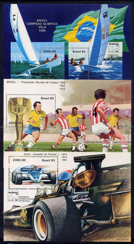brazil brasilien 1983 brasiliana sports cpl set of 5 souvenir sheets mnh ebay. Black Bedroom Furniture Sets. Home Design Ideas